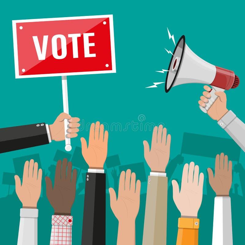 Podnosić up ręki Ludzie głosowanie ręk ilustracja wektor