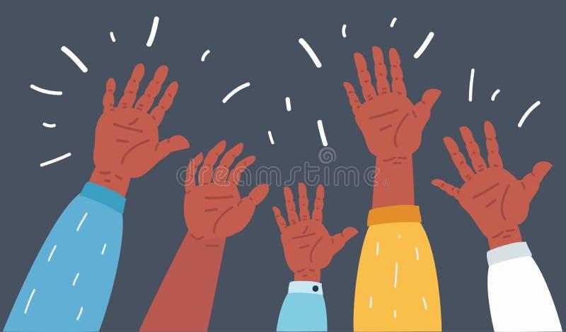Podnoszący w górę ręk na zmroku ilustracji