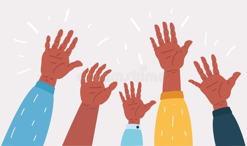 Podnoszący w górę ręk pracy zespołowe, współpraca, głosuje royalty ilustracja