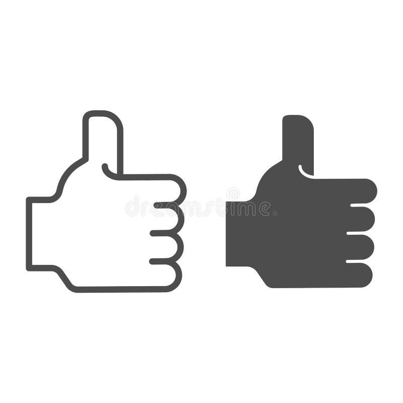 Podobna glif ikona i Kciuk w górę wektorowej ilustracji odizolowywającej na bielu Dobry ręka gesta konturu stylu projekt ilustracji