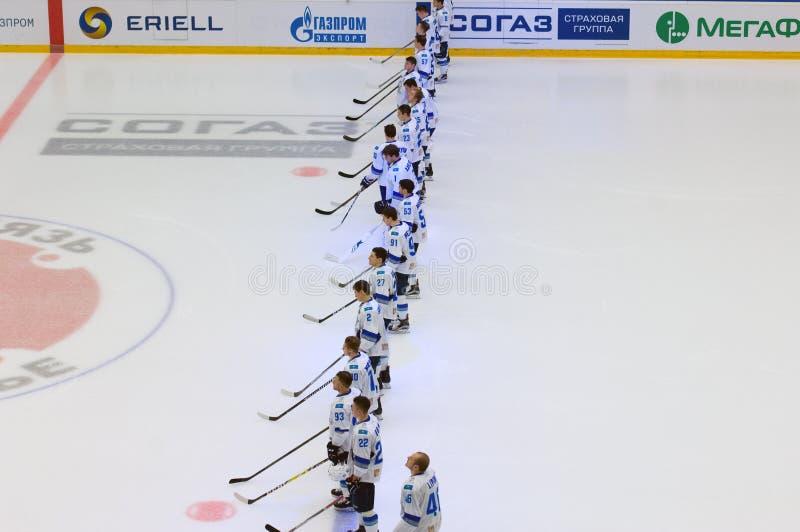 Barys team on himn. PODOLSK, RUSSIA - SEPTEMBER 10, 2017: Barys team on himnon hockey game Vityaz vs Barys on 10th Russia KHL championship on September 10, 2017 stock image