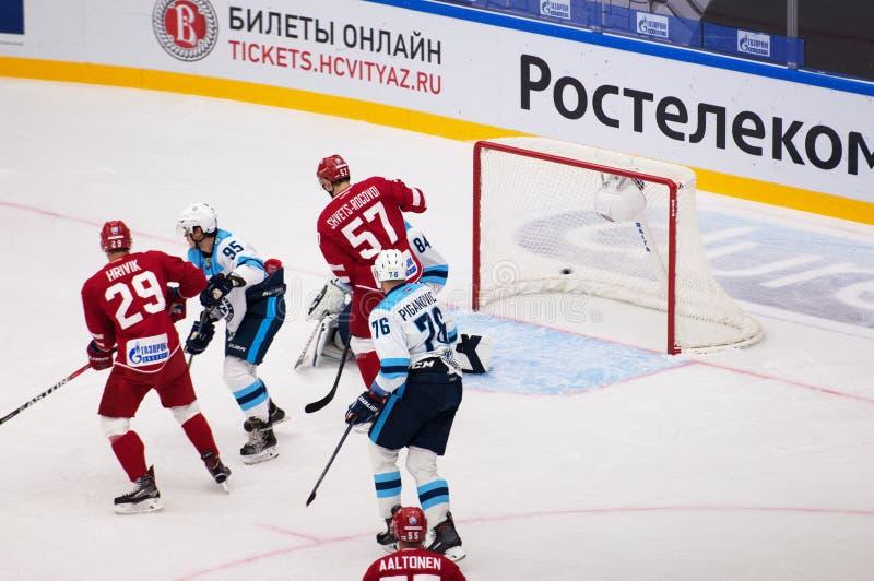 Goal to Sibir team gate. PODOLSK - SEPTEMBER 30, 2018: Goal to Sibir team gate on hockey game Vityaz vs Sibir Novosibirsk on Russia KHL championship on September stock images