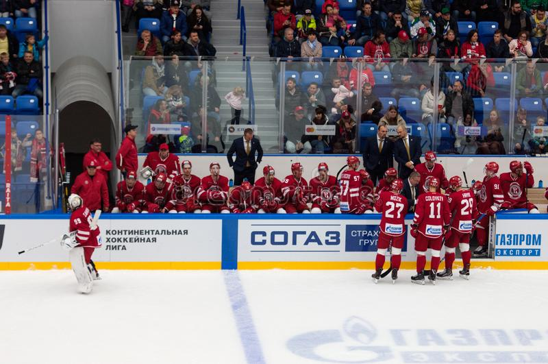 Vityaz team on time-out. PODOLSK - SEPTEMBER 28, 2018: Vityaz team on time-out during hockey game Vityaz vs Salavat Yulayev on Russia KHL championship on royalty free stock image