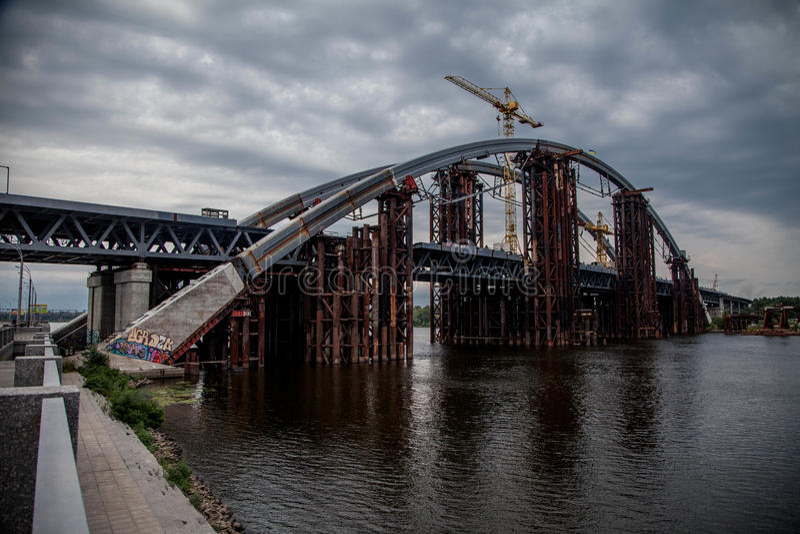 Podolsky bridge in Kiev stock images