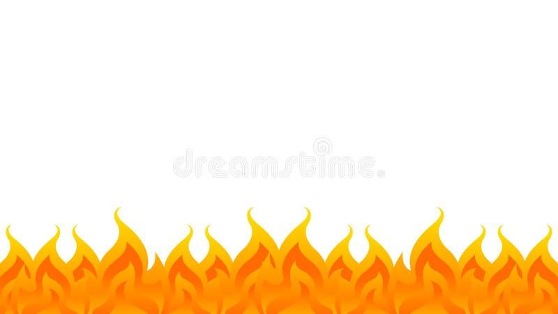 Podpala, płomienia rząd na białym tle, ognisko rama, ogienia płomień odizolowywający na bielu i kopii przestrzeń, ogienia  ilustracji