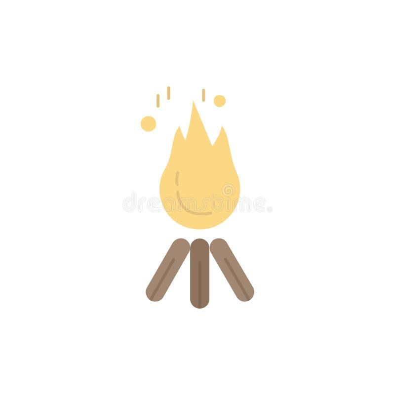 podpala, płonie, ognisko, camping, obozowy Płaski kolor ikony wektor royalty ilustracja