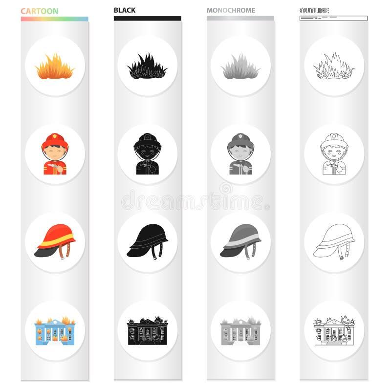Podpala, palacze w mundurze, ochronny hełm, płonący budynek Pożarniczego działu ustalone inkasowe ikony w kreskówce czernią ilustracji