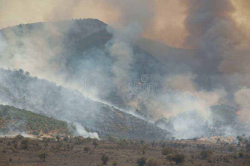 Podpala w górach podczas suszy, Turcja zdjęcia royalty free