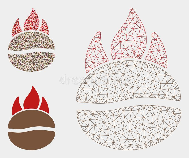 Podpalająca Kawowej fasoli siatki sieci trójboka i modela mozaiki Wektorowa ikona ilustracja wektor