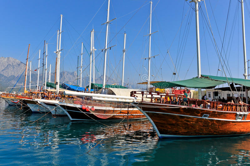 podpalani tureccy jachty zdjęcia royalty free