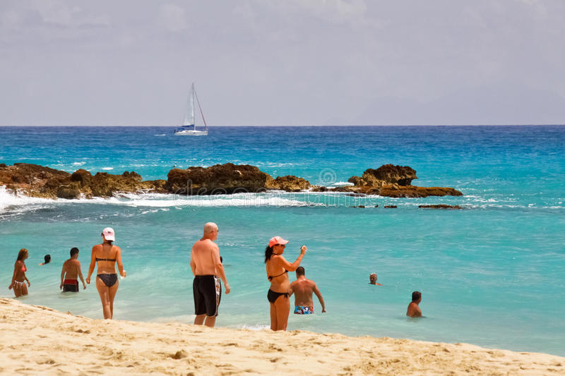 podpalany plażowy Maarten maho st obrazy stock
