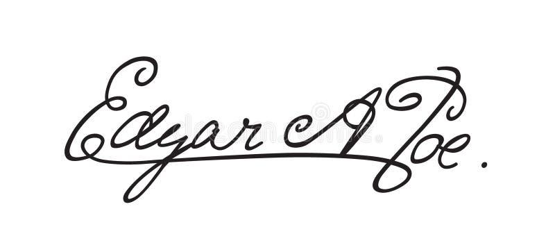 Podpis pisarski Edgar Allan Poe Autograf sławna poeta Kaligrafia i literowanie Afghograph w wektorze, ilustracji