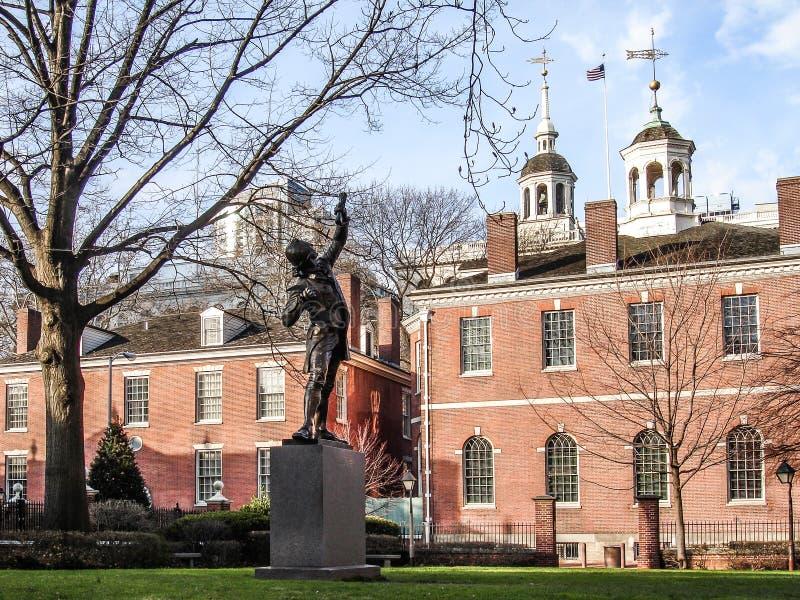 Podpisany statua w Filadelfia, usa zdjęcia stock
