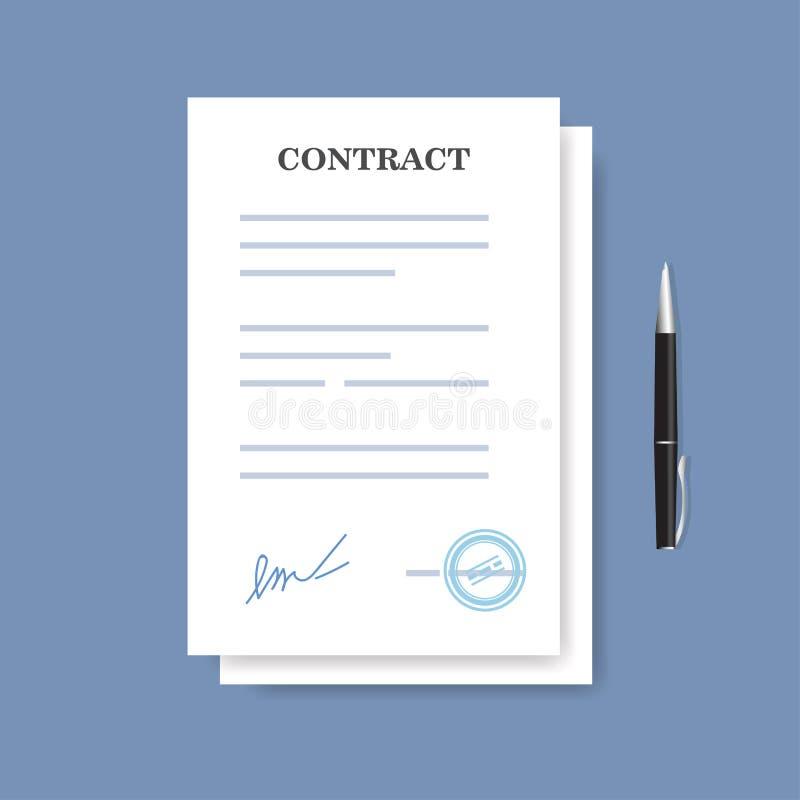 Podpisująca papierowa transakcja kontrakta ikona Zgoda i pióro na błękitnym tle odizolowywający ilustracji