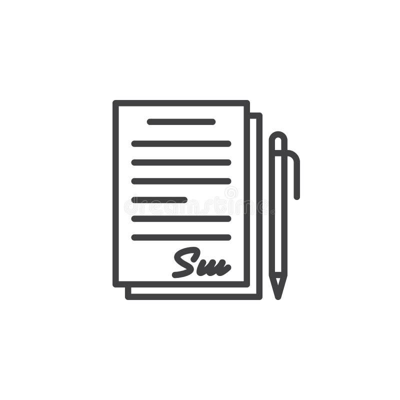 Podpisujący kontrakt, dokument kreskowa ikona, konturu wektoru znak, liniowy piktogram odizolowywający na bielu ilustracja wektor