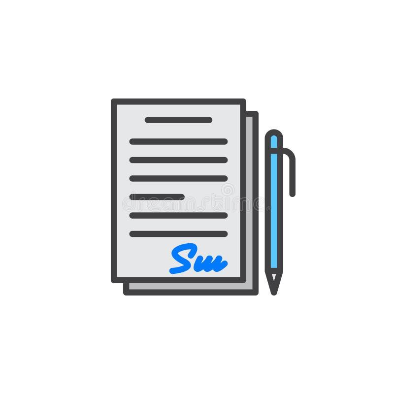 Podpisujący kontrakt, dokument kreskowa ikona, wypełniający konturu wektoru znak, liniowy kolorowy piktogram odizolowywający na b ilustracja wektor