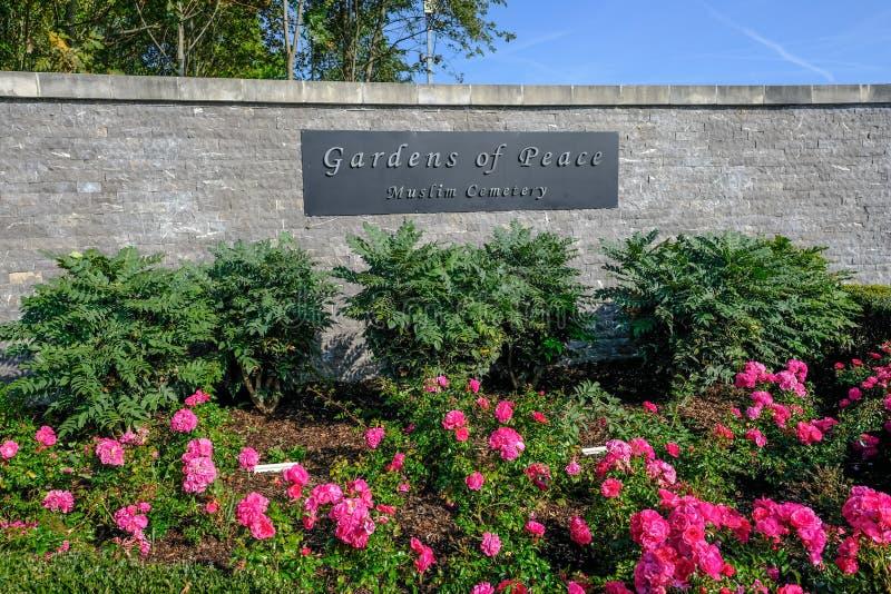 Podpisuje dla ogródów pokój, Muzułmański cmentarz blisko wejścia na Elmbridge drodze, 1 fotografia stock