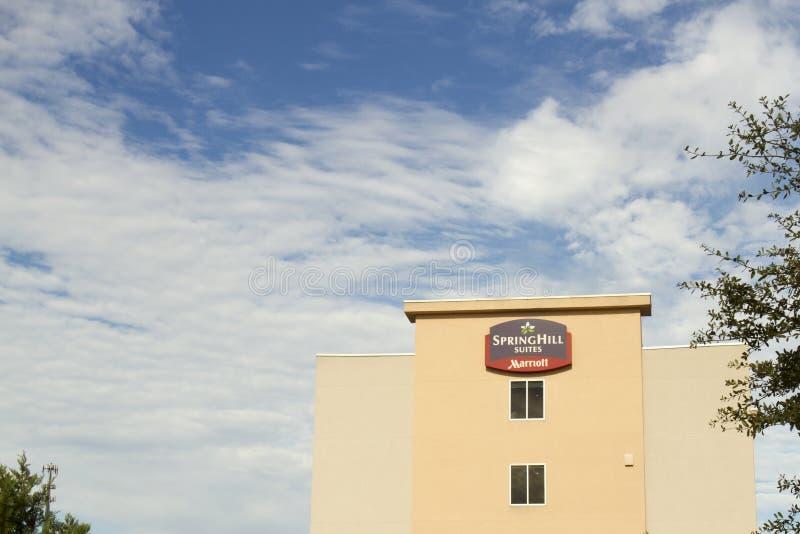 Podpisuje dla Springhill apartamentów, Marriott gatunku łańcuchu hotel obrazy royalty free