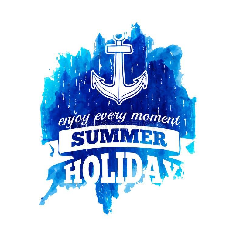 Podpisuje, przylepia etykietkę, logo lub emblemat wakacje letni ilustracji