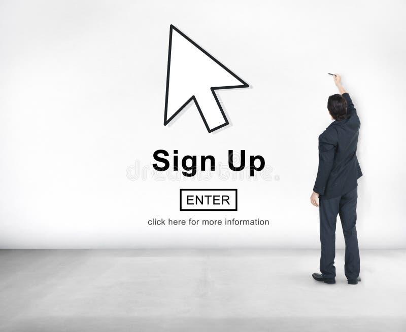 Podpisuje rejestr Up Łączy wnioskodawcy Zapisuje się Wchodzić do członkostwa pojęcie zdjęcia royalty free