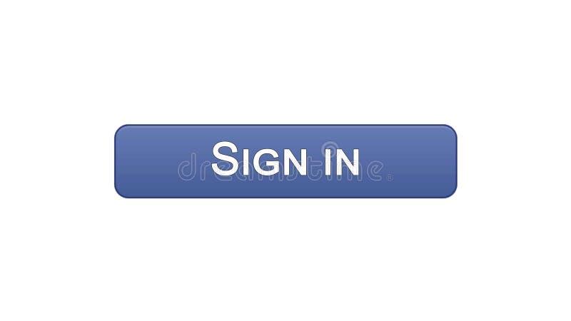 Podpisuje wewnątrz sieć interfejsu guzika fiołkowego kolor, online zastosowanie, interneta miejsce ilustracja wektor