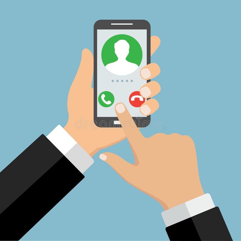 Podpisuje wewnątrz stronę na smartphone ekranie Ręka chwyta telefon, palcowy dotyk podpisuje wewnątrz guzika Męski avatar ilustracja wektor