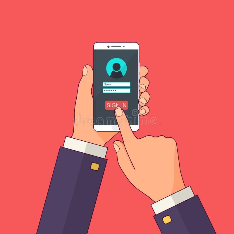 Podpisuje wewnątrz stronę na smartphone ekranie Wręcza chwyta smartphone, palcowy dotyk podpisuje wewnątrz guzika Mobilny konto N ilustracja wektor