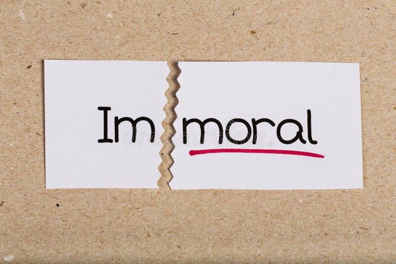 Podpisuje z słowa niemoralnym obracającym w morał zdjęcia royalty free