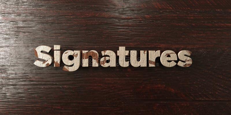 Podpisy - grungy drewniany nagłówek na klonie - 3D odpłacający się królewskość bezpłatny akcyjny wizerunek ilustracji