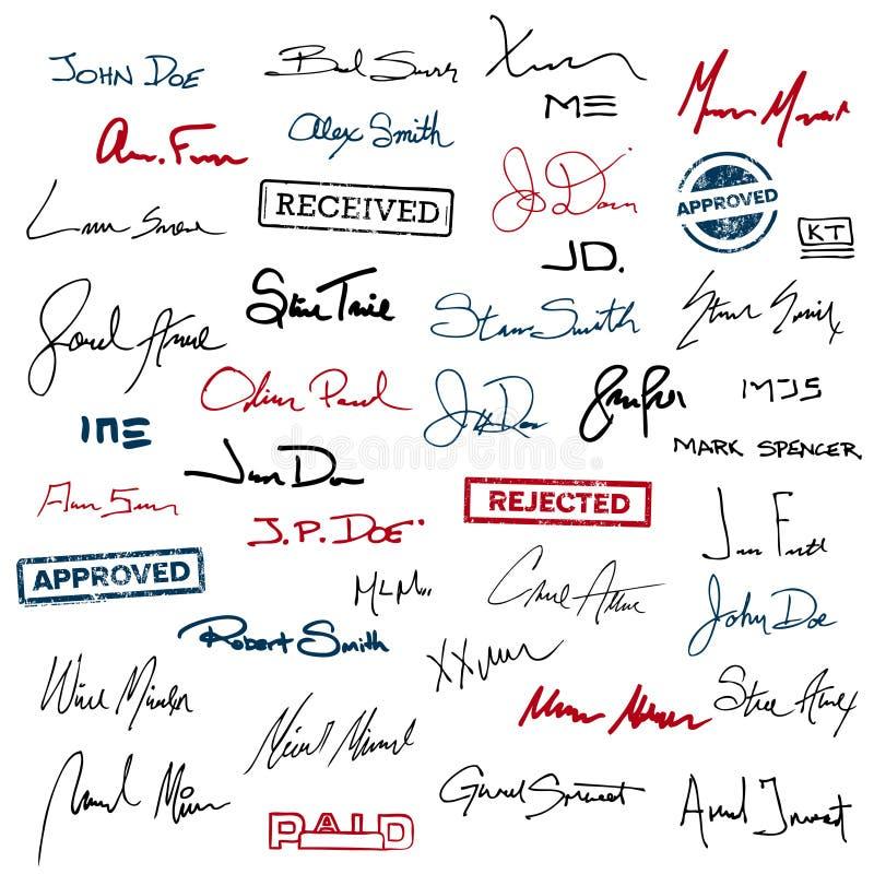 Podpisy i znaczki ilustracji