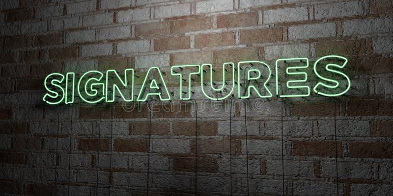 PODPISY - Rozjarzony Neonowy znak na kamieniarki ścianie - 3D odpłacająca się królewskości bezpłatna akcyjna ilustracja ilustracja wektor