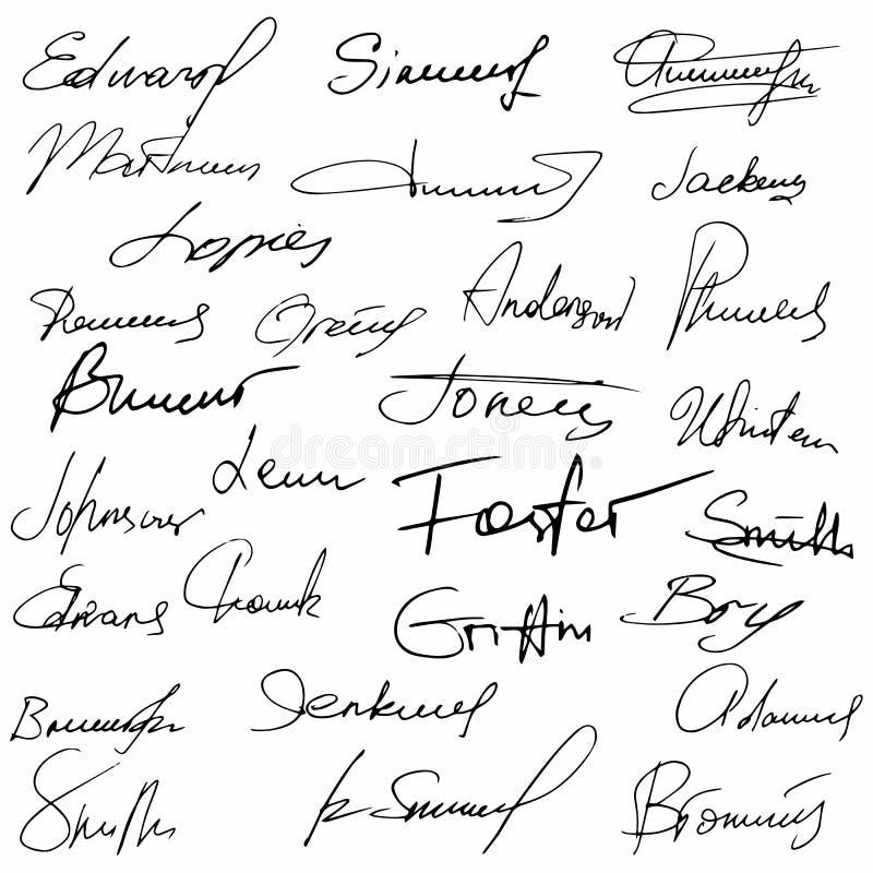Podpisy ustawiają fikcyjnego kontrakt ilustracja wektor