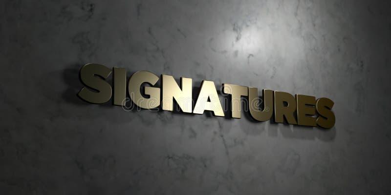 Podpisy - Złocisty tekst na czarnym tle - 3D odpłacający się królewskość bezpłatny akcyjny obrazek royalty ilustracja