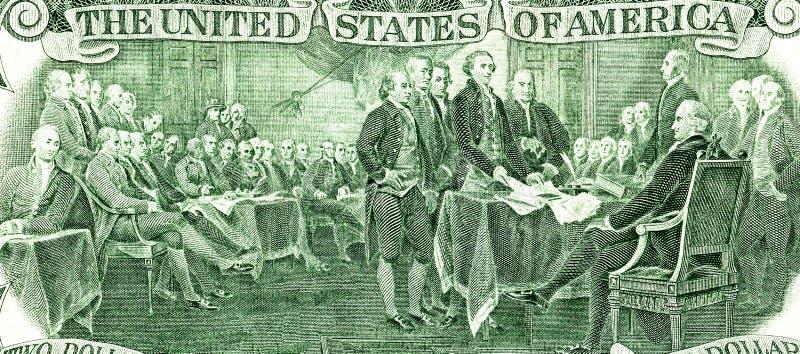 Podpisywanie deklaracja niepodległości od dwa dolarów banknotu fotografia royalty free
