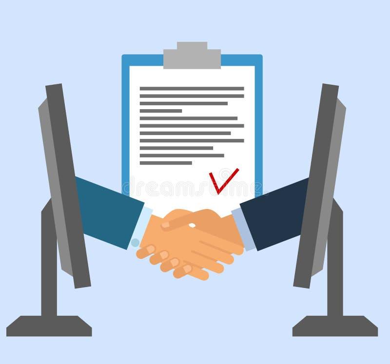 Podpisywanie kontrakt online Biznesowy uścisk dłoni dla transakci i pracy zespołowej pojęcia międzynarodowy współpraca trząść ręk ilustracja wektor