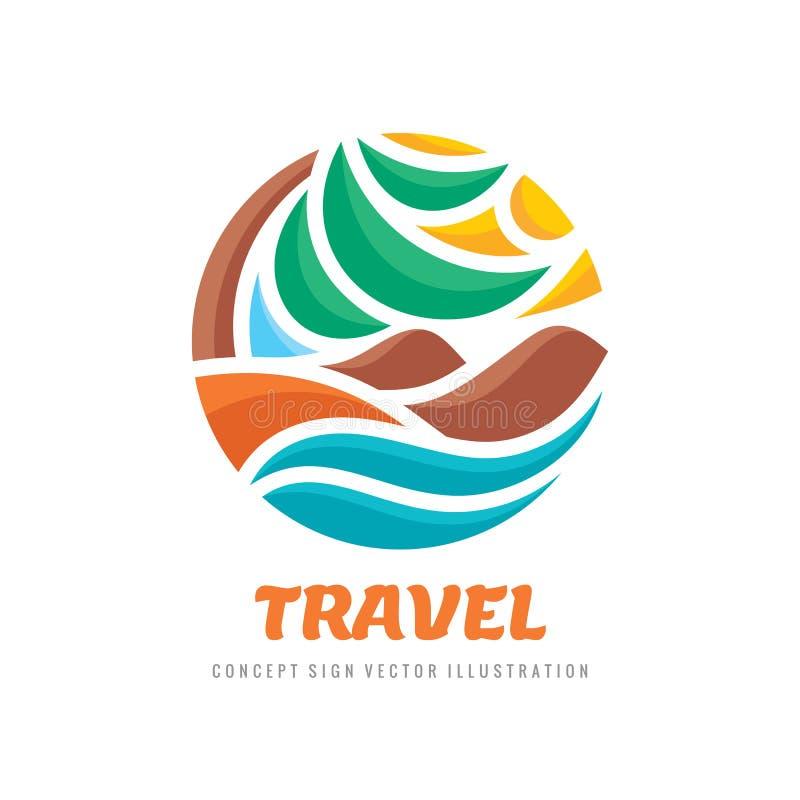 Podróż - pojęcie logo szablonu wektoru biznesowa ilustracja Wakacje abstrakt podpisuje wewnątrz okręgu kształt tropikalny wakacje ilustracja wektor