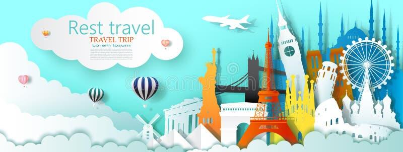 Podróżuje biznesowego punkt zwrotny turystyki światu sławną architekturę balonem ilustracja wektor