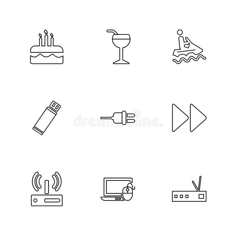 podróż, świętowanie, lato, kierunki, eps ikony ustawia vecto ilustracji