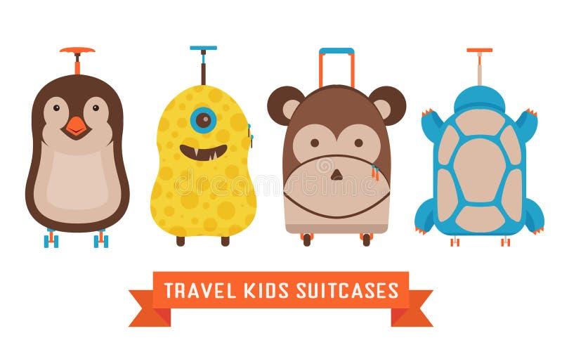Podróż Żartuje walizki z zwierzę ikonami ilustracji