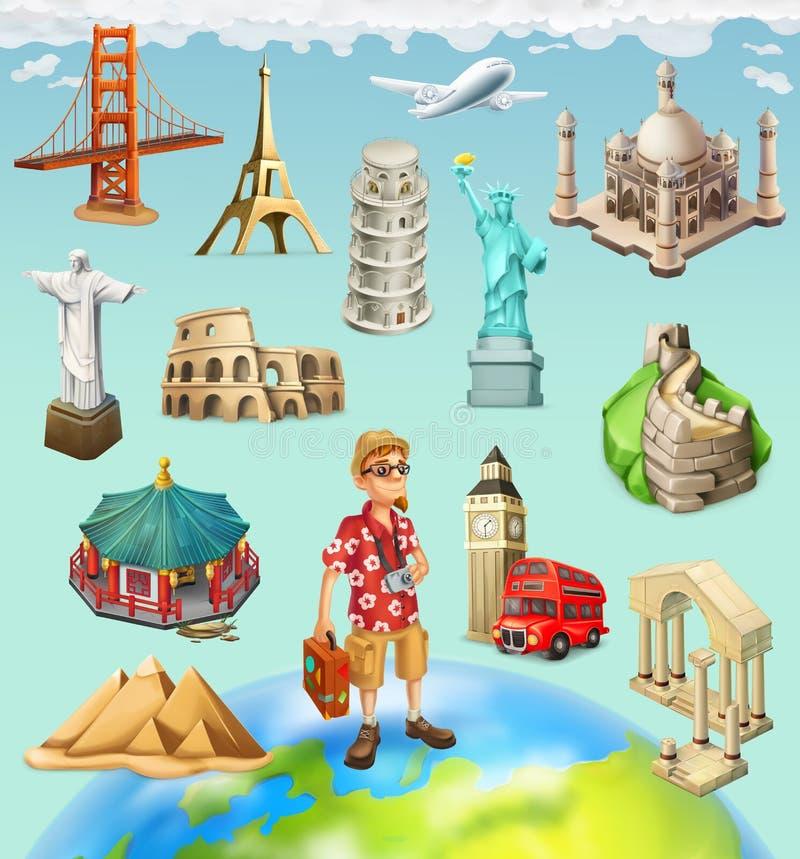 Podróż, atrakcja turystyczna 3d ikony wektorowy set royalty ilustracja