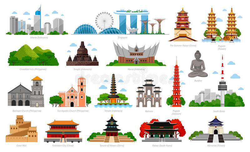 Podróż Azja Singapur, Indonezja, Bali, Chiny, Południowy Korea, Tajwan, Wietnam ilustracji