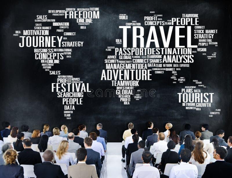 Podróż Bada Globalnego miejsce przeznaczenia wycieczki przygody pojęcie ilustracja wektor