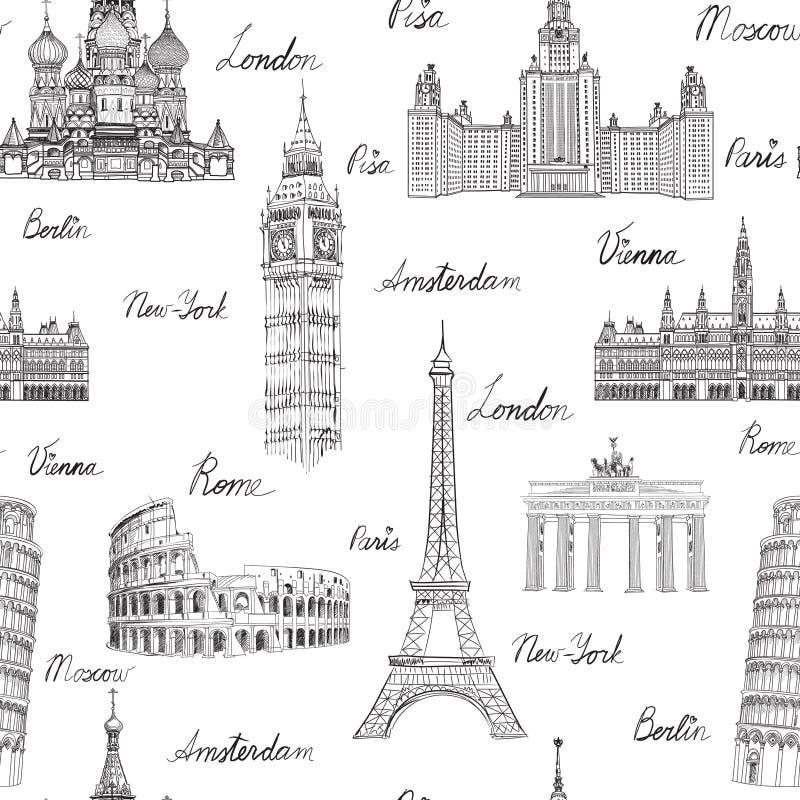 Podróż bezszwowy wzór Wakacje w Europa landmarks tło portfolio więcej mój podróż ilustracji