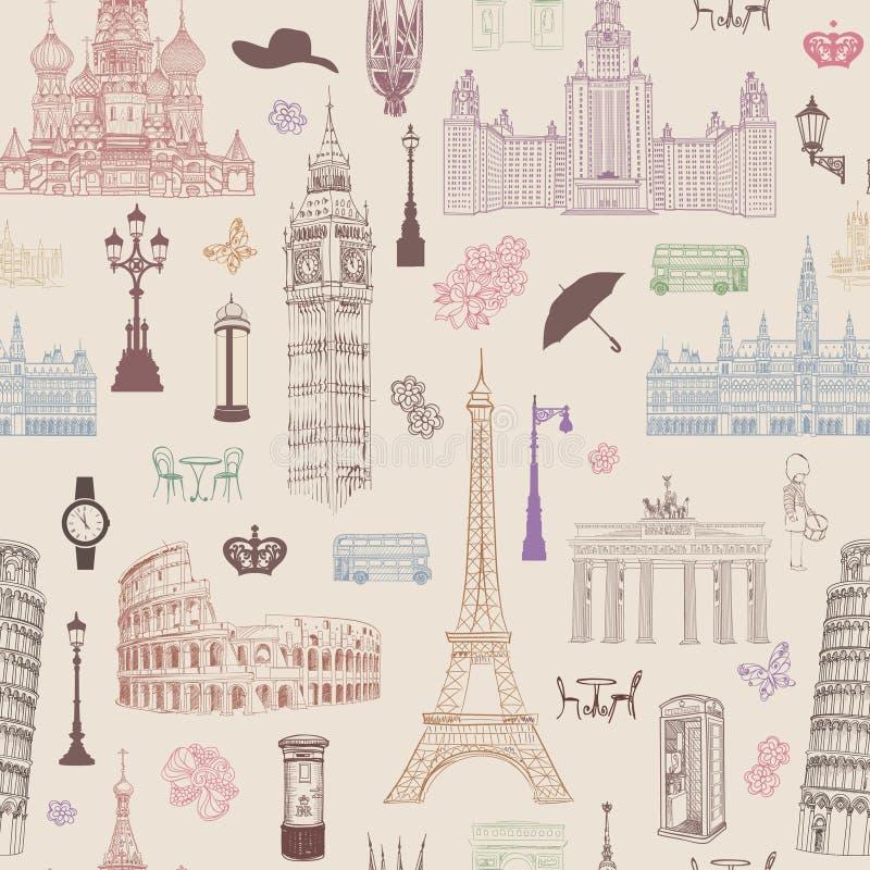 Podróż bezszwowy wzór Wakacje w Europa tapecie samochodowej miasta pojęcia Dublin mapy mała podróż royalty ilustracja