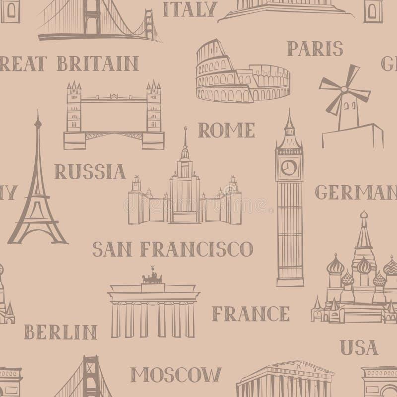 Podróż bezszwowy wzór Wakacje w Europa tapecie tła torby paszport target1768_0_ biel ilustracji