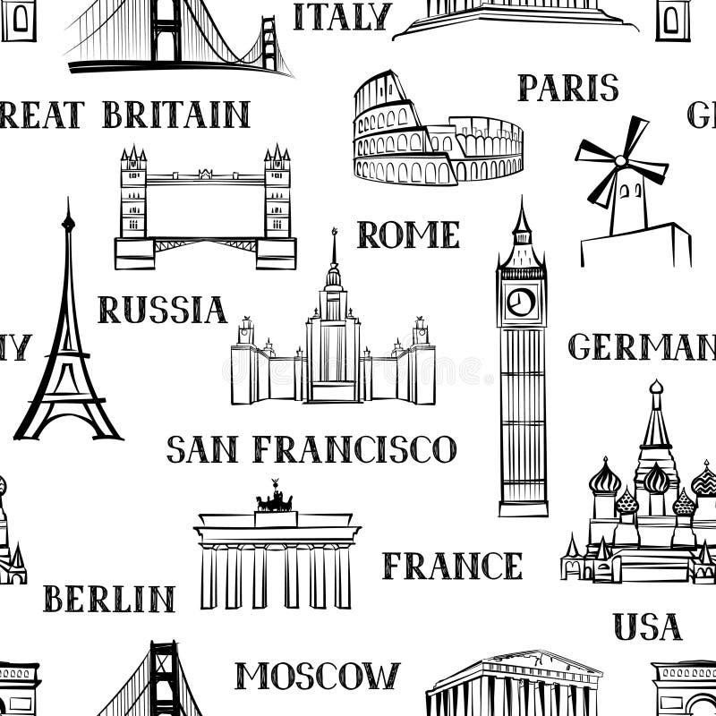 Podróż bezszwowy wzór Wakacje w Europa tapecie tła torby paszport target1768_0_ biel ilustracja wektor