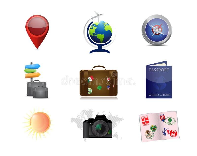 podróż być na wakacjach pojęcie ikony ustalona ilustracja ilustracji