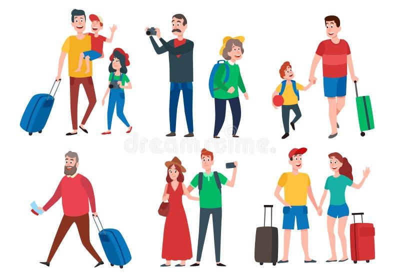 Podróż charaktery Podróżna grupa, rodzinny para wakacje wakacje i zwiedzać podróż turystów kreskówki wektoru set, ilustracja wektor