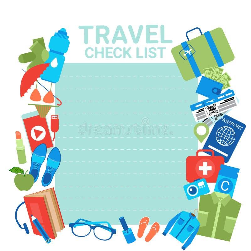 Podróż czeka listy szablonu tło Dla listy kontrolnej Dla Pakować, Planować Urlopowa walizka Z rzeczami ilustracji