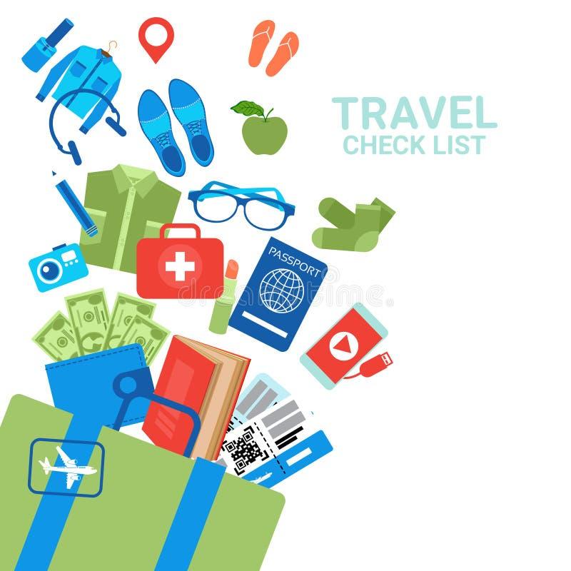 Podróż czeka listy tła bagażu ikony Na Białym Bagażowym Planistycznym pojęciu ilustracji